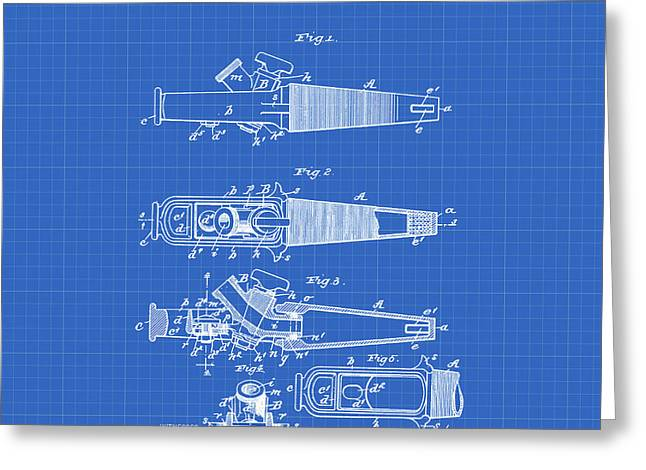 Ale Tap Patent 1893 In Blueprint Greeting Card by Bill Cannon