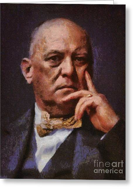 Aleister Crowley, Infamous Occultist Greeting Card by Mary Bassett