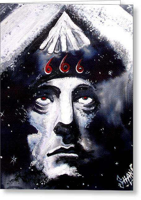 Aleister Crowley Space In Time With The Great Beast Greeting Card by Sam Hane