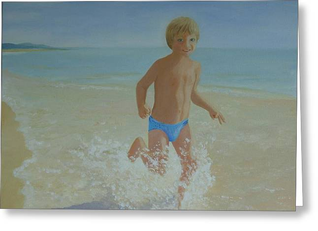 Alex On The Beach Greeting Card