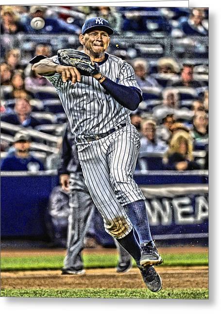 Alex Rodriguez New York Yankees Art 2 Greeting Card by Joe Hamilton