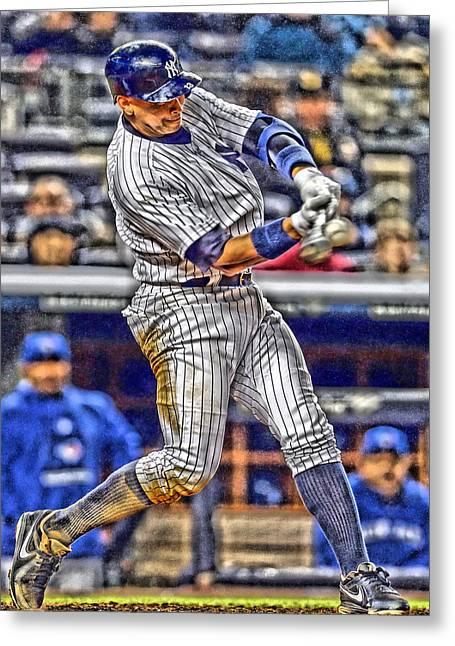 Alex Rodriguez New York Yankees Art 3 Greeting Card by Joe Hamilton