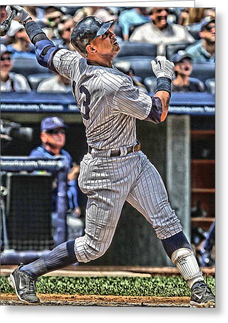 Alex Rodriguez New York Yankees Art 5 Greeting Card by Joe Hamilton