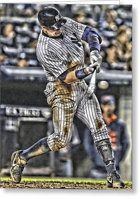 Alex Rodriguez New York Yankees Art1 Greeting Card by Joe Hamilton