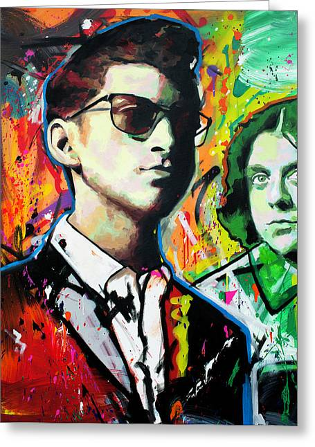 Greeting Card featuring the painting Alex Turner by Richard Day