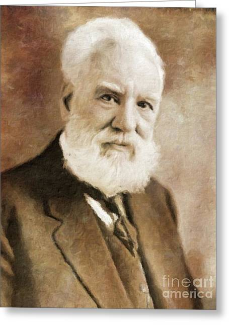 Alexander Graham Bell, Infamous Inventor By Mary Bassett Greeting Card by Mary Bassett