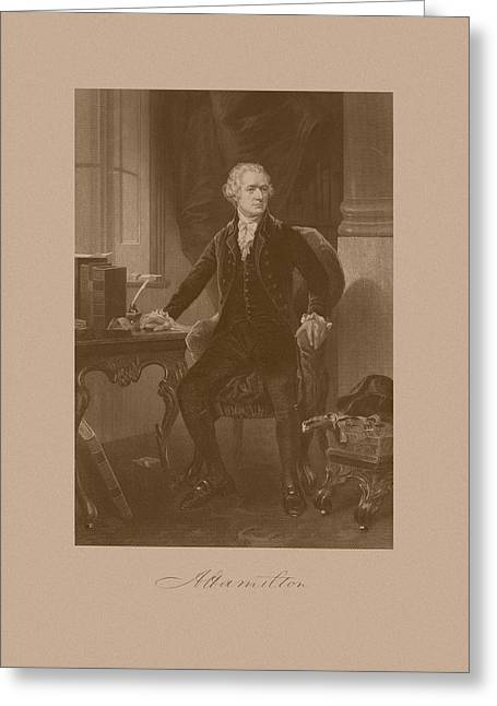 Treasury Greeting Cards - Alexander Hamilton Sitting At His Desk Greeting Card by War Is Hell Store