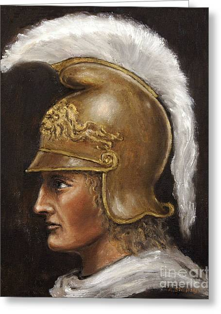 Greeting Card featuring the painting Alexander The Great by Arturas Slapsys