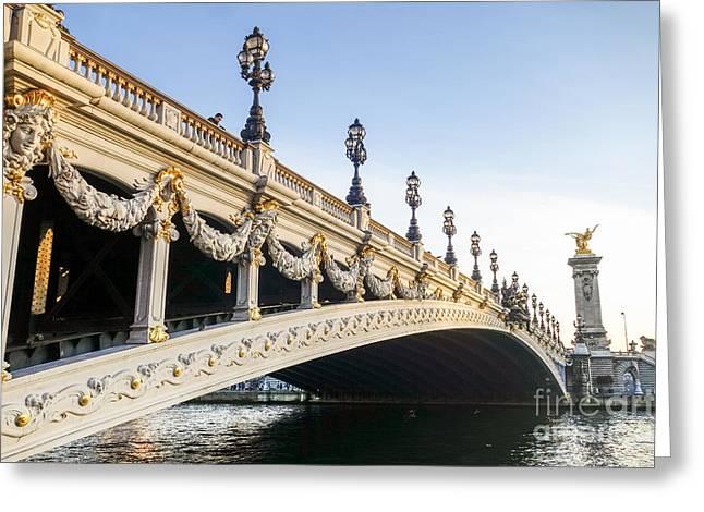 Alexandre IIi Bridge In Paris France Early Morning Greeting Card by Perry Van Munster