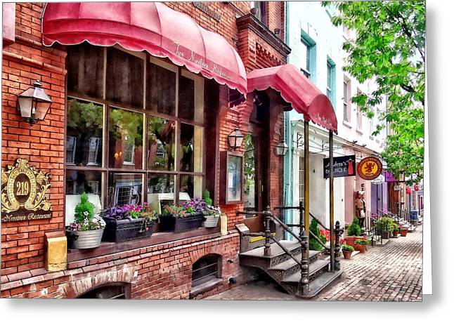 Alexandria Va - Red Awnings On King Street Greeting Card