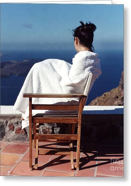 Alexis In Santorini IIi Greeting Card by Andrea Simon
