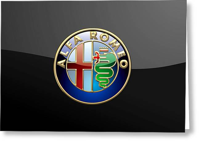 Alfa Romeo - 3 D Badge On Black Greeting Card by Serge Averbukh