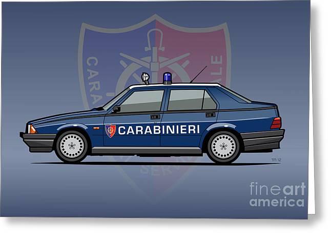 Alfa Romeo 75 Tipo 161, 162b Milano Carabinieri Italian Police Car Greeting Card