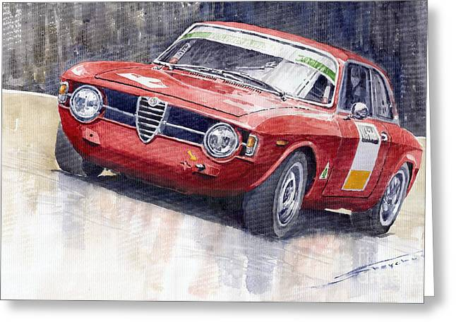 Alfa Romeo Giulie Sprint Gt 1966 Greeting Card by Yuriy  Shevchuk