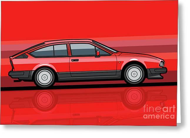 Alfa Romeo Gtv6 Red Stripes Greeting Card