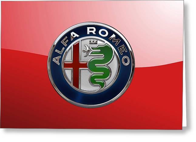 Alfa Romeo New 2015 3 D Badge Special Edition On Red Greeting Card by Serge Averbukh