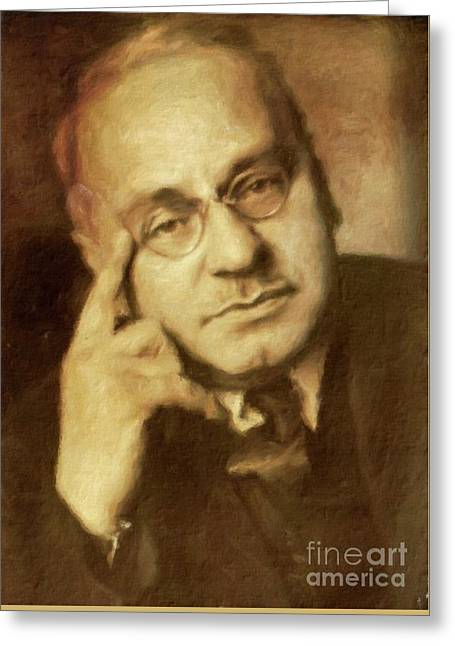 Alfred Adler, Psychotherapist By Mary Bassett Greeting Card by Mary Bassett
