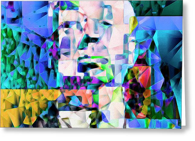 Alfred Hitchcock In Abstract Cubism 20170329 Greeting Card