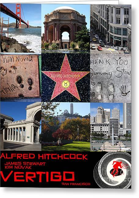 Alfred Hitchcock Jimmy Stewart Kim Novak Vertigo San Francisco 20150608 Text Black Greeting Card by Wingsdomain Art and Photography