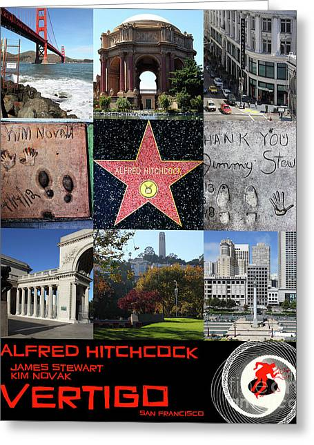 Alfred Hitchcock Jimmy Stewart Kim Novak Vertigo San Francisco 20150608 Text Black Greeting Card