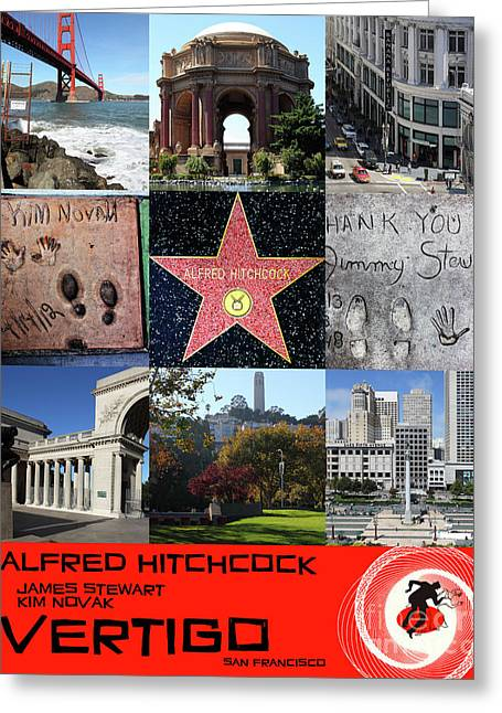 Alfred Hitchcock Jimmy Stewart Kim Novak Vertigo San Francisco 20150608 Text Red Greeting Card