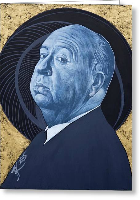Alfred Hitchcock Greeting Card by Jovana Kolic