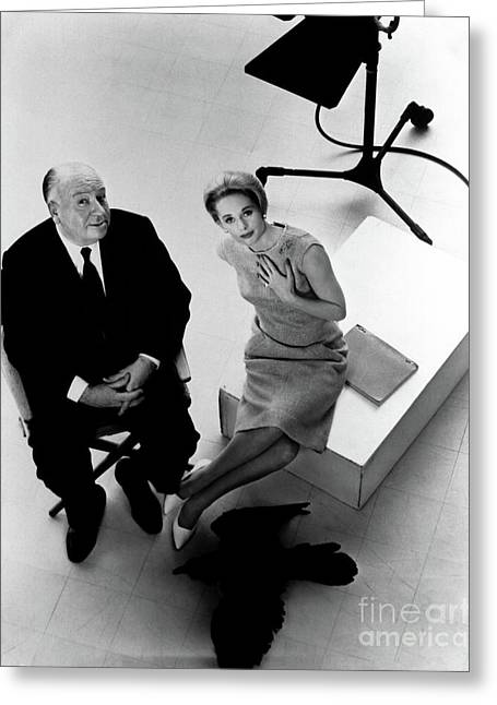 Alfred Hitchcock Tippi Hedren The Birds  Greeting Card by Sad Hill - Bizarre Los Angeles Archive