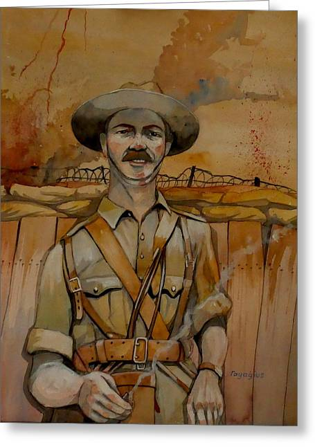 Greeting Card featuring the painting Alfred Shout Vc by Ray Agius