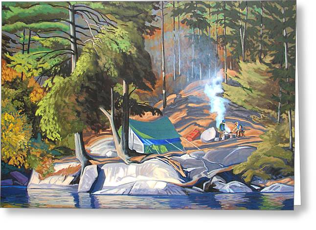 Algonquin Campsite Greeting Card by Paul Gauthier
