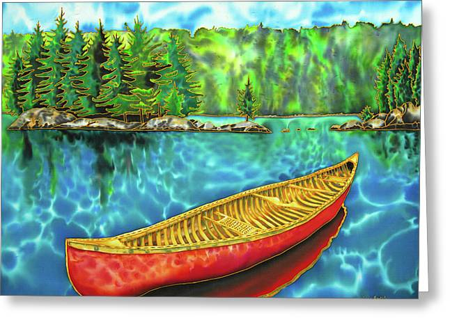 Algonquin Park Canada - Red Canoe Greeting Card by Daniel Jean-Baptiste