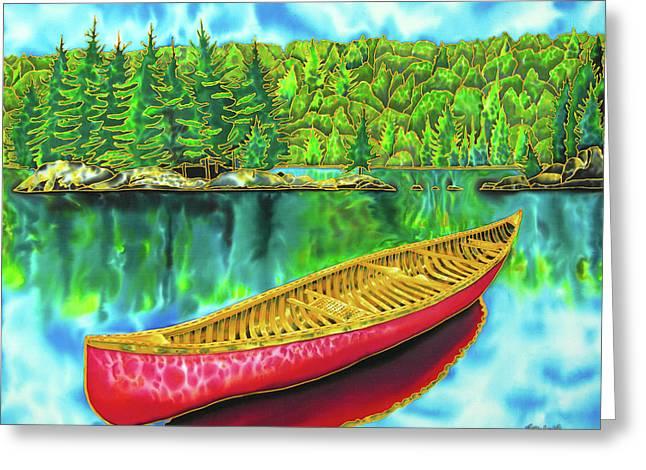 Algonquin Park - Red Canoe Greeting Card by Daniel Jean-Baptiste