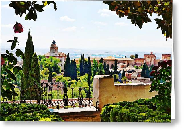 Alhambra Gardens, Digital Paint Greeting Card