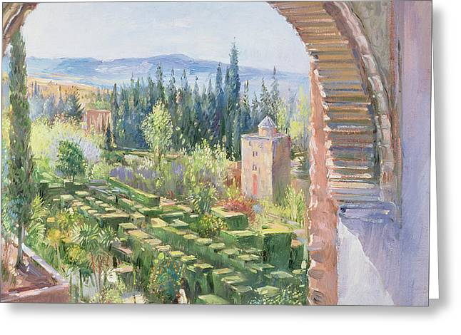 Alhambra Gardens Greeting Card by Timothy Easton