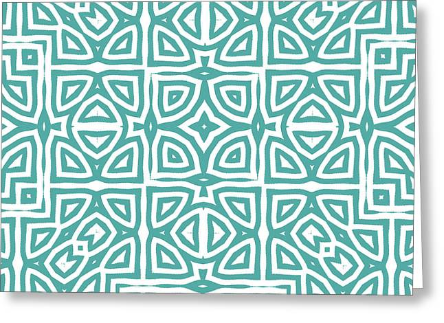 Alhambra Teal Greeting Card by Mindy Sommers