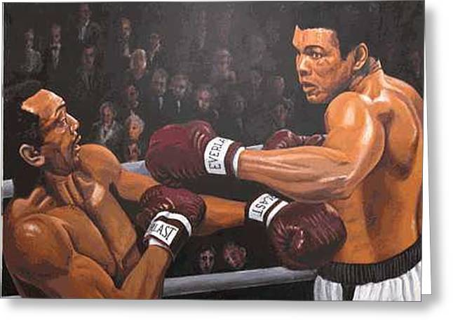 Ali Vs Foster Greeting Card by Kenneth Kelsoe