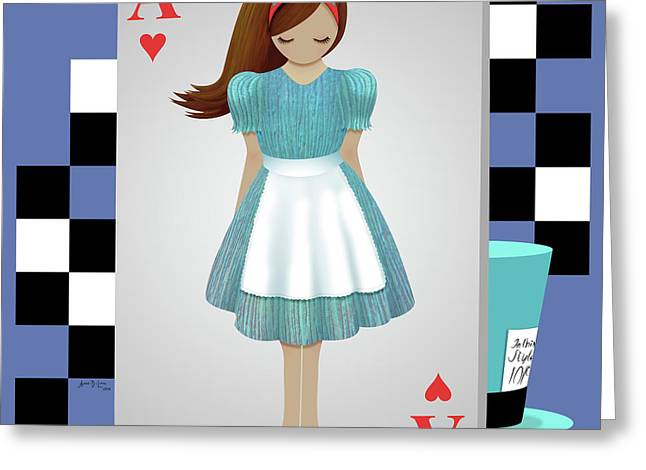 Alice 3d Flying Cards Greeting Card by Audra Lemke