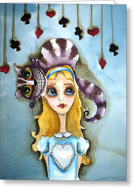 Alice And Cheshire Cat Greeting Card