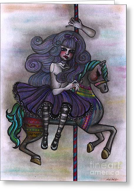 Alice And Merry-go-round Greeting Card