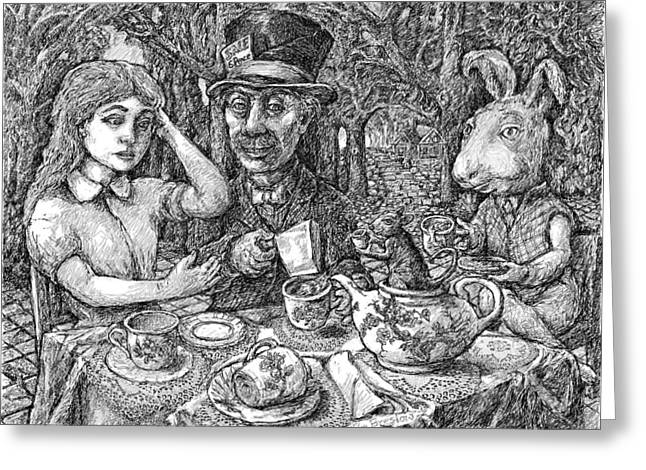 Alice And The Mad Hatter Greeting Card by Steve Breslow