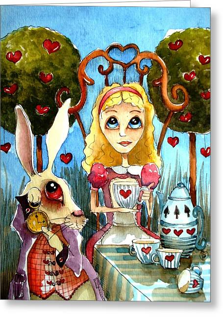 Alice And The Rabbit Having Tea... Greeting Card by Lucia Stewart