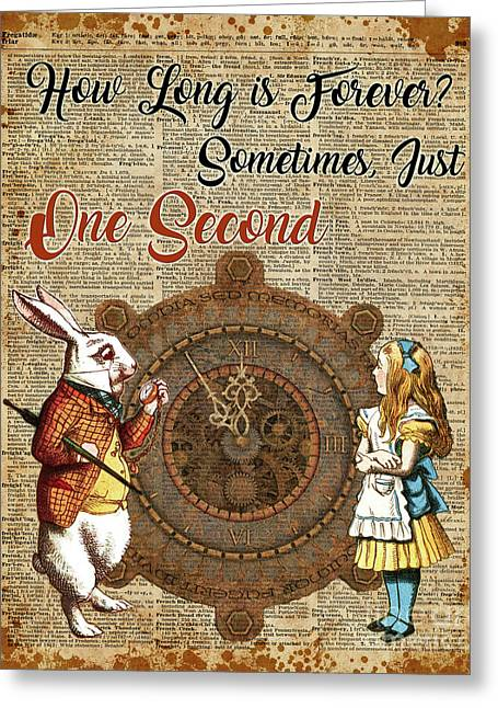 Alice And White Rabbit Vintage Dictionary Art Quote Greeting Card