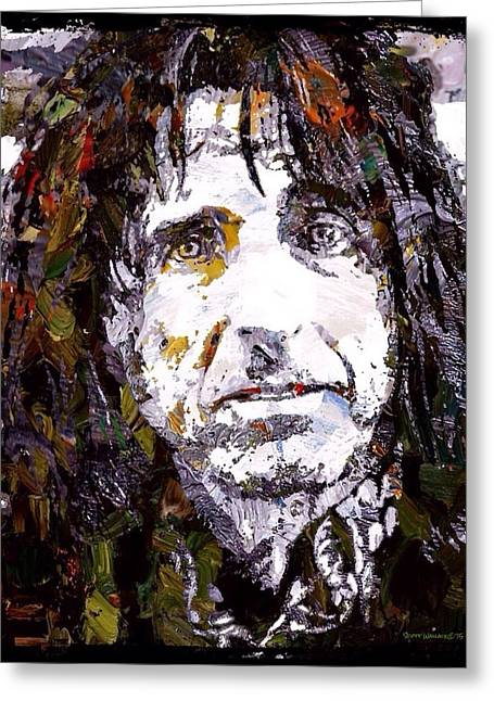Alice Cooper Graffiti Portrait  Greeting Card by Scott Wallace