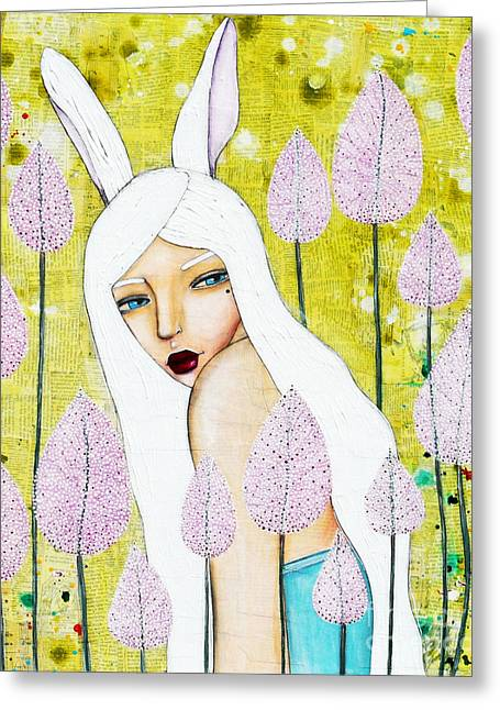 Greeting Card featuring the mixed media Alice In Oz by Natalie Briney