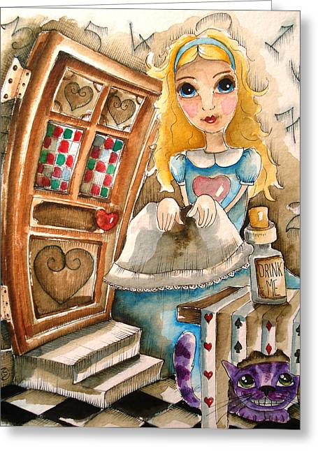 Alice In Wonderland 2 Greeting Card by Lucia Stewart
