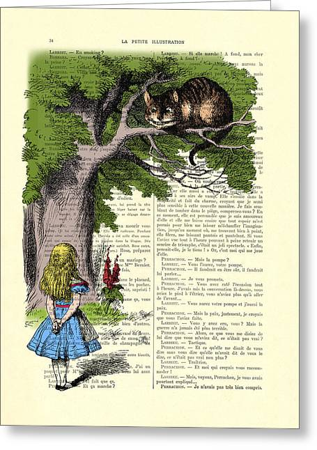 Alice In Wonderland And Cheshire Cat Greeting Card