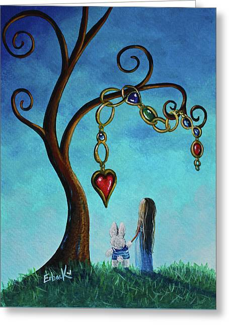 Alice In Wonderland Art - Alice And The Jeweled Tree Greeting Card