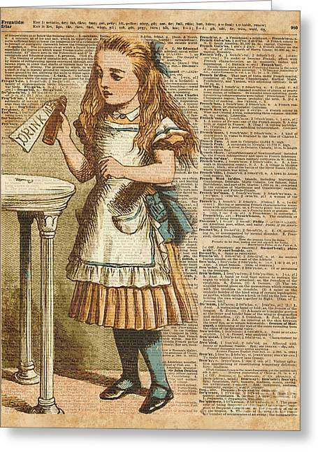 Alice In Wonderland Drink Me Vintage Dictionary Art Illustration Greeting Card by Jacob Kuch