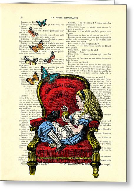 Alice In Wonderland Playing With Cute Cat And Butterflies Greeting Card