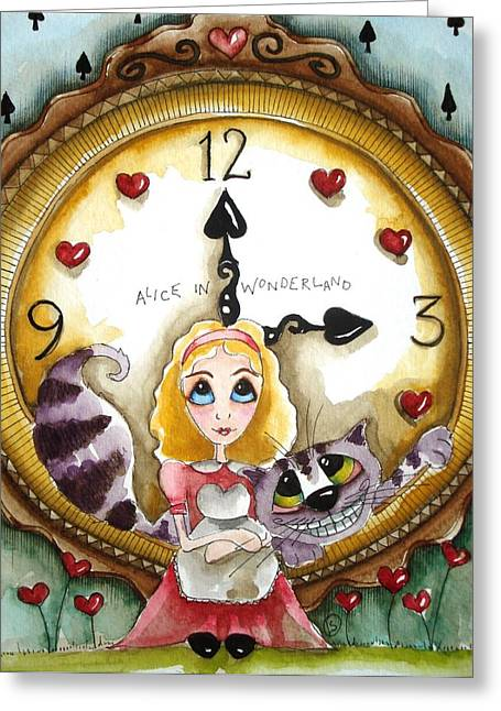 Alice In Wonderland Tick Tock Greeting Card by Lucia Stewart