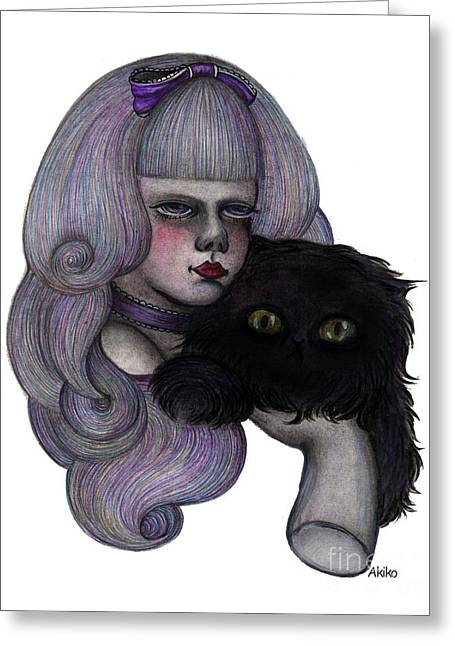 Alice With Black Cat Greeting Card